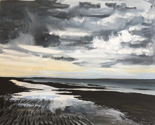 """Strand na regen 19 juni"" gouache on panel 20x25cm, plein air seascape by Philine van der Vegte"