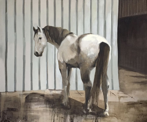 Big white horse, oil on linen 250x300cm by Philine van der Vegte