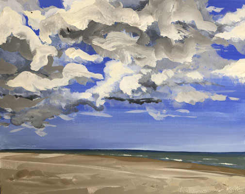 """Strand 17 juni"" gouache on panel 20x25cm, plein air seascape by Philine van der Vegte"