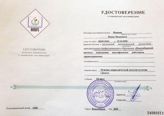 Удостоверение о повышении квалификации (за отдельную плату)