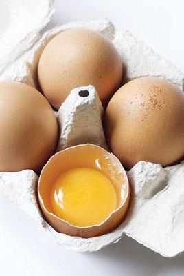 飼料、昆虫、芋虫、穀物の多様な混成で、高品質で、オメガ3が豊富な卵や肉製品を確保できる。