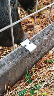 金網は、筆者が万力とスチール製のブロックで成形した 31/2 インチ(89mm)の補強金具で作ったブラケットでフレームに 取り付けてある。