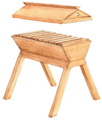 トップバー式巣箱では、蜂が、箱の内側の横棒から垂れ下がるU字型の巣を作る。