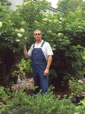 マイケル・ブラウン(筆者 )が彼の裏庭農場の木のそばに立つ。  Photo by Nurit Brown.