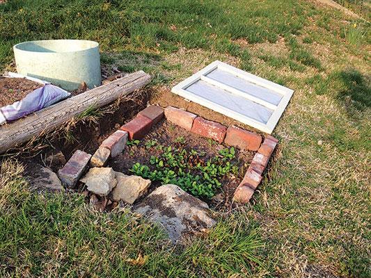 6. 筆者レベッカ・マーティン(ゾーン6a)は冬作物用に南向きの穴を掘った。窓と強いビニールシートで覆ってある。