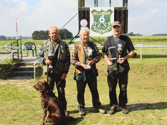 Sieger der Seniorenklasse A von links nach rechts: John Koppelle 2. Platz, Walter Freuer 1. Platz und Roland Ueckermann 3. Platz