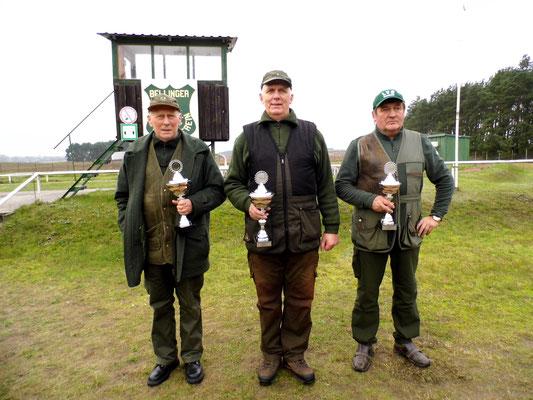 Gewinner der Seniorenklasse B von von links nach rechts: Jürgen Gottschlich 2.Platz, Gunther Greiff 1.Platz und Bernd Dresler 3. Platz