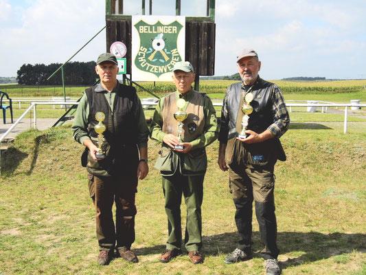 Sieger der Seniorenklasse B von links nach rechts: Gunther Greiff 2. Platz, Jürgen Gottschlich 1. Platz und Reiner Grossmann 3. Platz