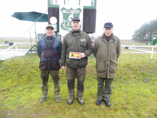 von links nach rechts: Hans Jürgen Ulfig 2.Platz, Gunther Greiff 1.Platz und Jürgen Gottschlich 3.Platz