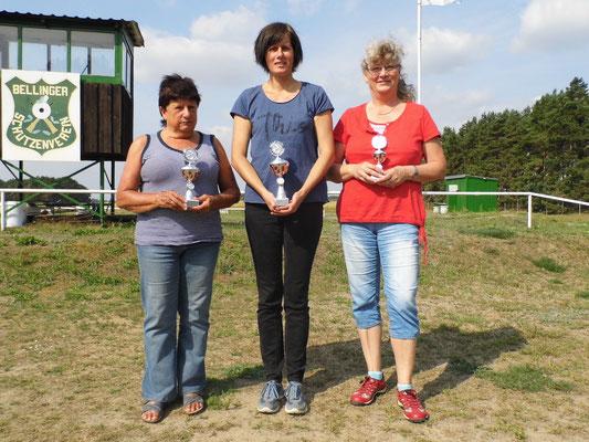von links nach rechts: Ingeborg Zühlke 2.Platz, Silke Ristau 1.Platz und Marita Schubbert 3. Platz
