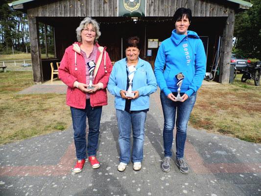 Hier sehen Sie von links nach rechts: Marita Schubbert 2.Platz, Ingeborg Zühlke 1.Platz und Silke Greiff 3.Platz