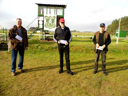 von links nach rechts: Michael Lindner 2.Platz, Werner Fröhlich 1.Platz und Wolfgang Mante 3.Platz