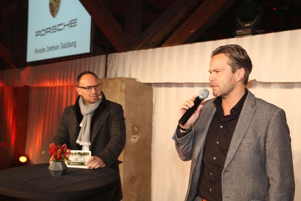 Foto: Konrad Lagger. Auf dem Bild: Stefan Rettenbacher (Markenleiter Porsche Zentrum Salzburg) und Thomas Wollner (Moderation)