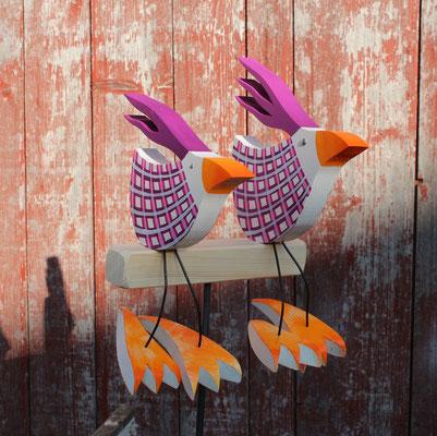 Vogelpaar klein & mittel beide sitzend