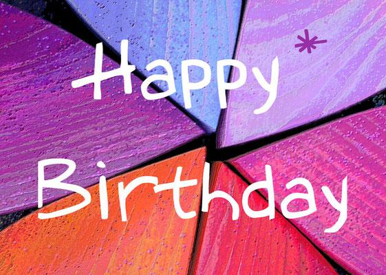 4 Happy Birthday auf Herzen