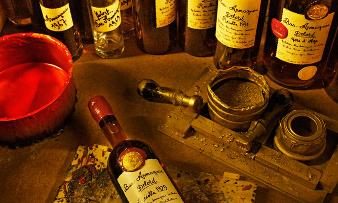 Armagnac Delord bottles hand stamped at the distillery in red wax.