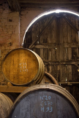 Ageing calvados in the  Claque-Pepin cellars