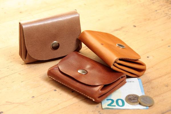 Olli, Kleiner Geldbeutel aus pflanzlich gegerbtem Leder, Harmonika_Geldbeutel, in Deutschland mit Liebe handgefertigt