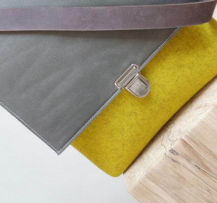 Klappe grau (mausi), nachhaltige Tasche aus Filz und Naturleder, plastikfrei, biologisch abbaubar, handgefertigt in Deutschland