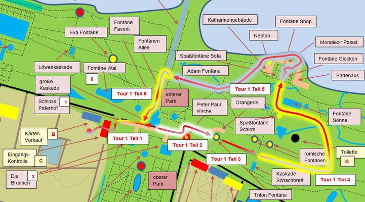 Karte mit dem Tourenvorschlag der Tour Nummer 1 durch den Peterhofer Park.