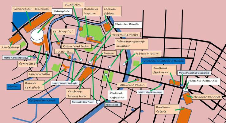 Newski Prospekt mit den Sehenswürdigkeiten Stadtplan