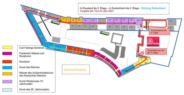 Schema die 3. Etage im Gerneralstabsgebäude mit Tour ab dem Jahr 2021