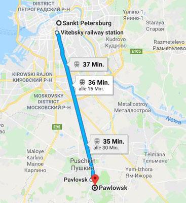 Karte Vitebskaja Bahnhof - Pawlowsk