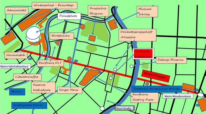 Schema mit Karte vom Denkmal für Katharina