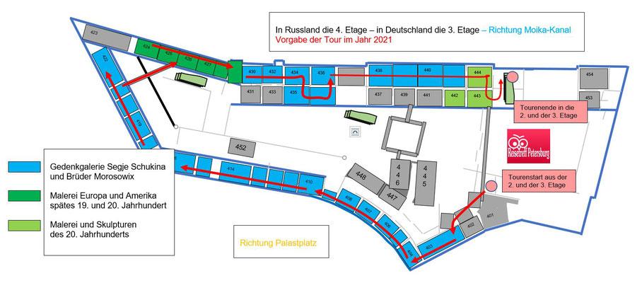 Schema Generalstabsgebäude 4. Etage mit Tour ab dem Jahr 2021