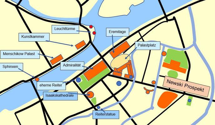 Karte mit Menschikow Palast und Kunstkammer