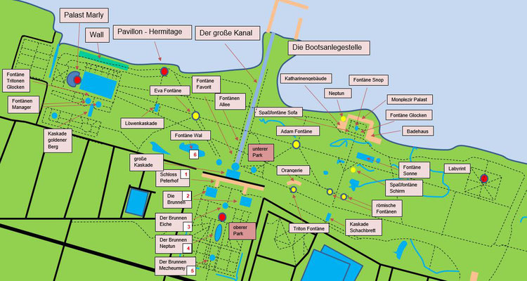 Peterhofer Park mit Sehenswürdigkeiten