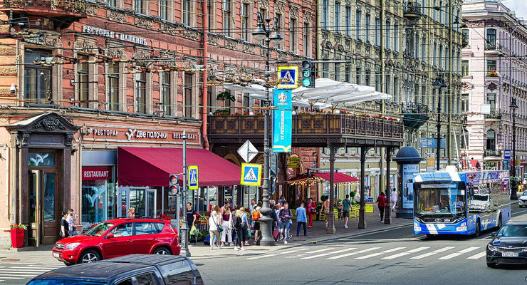 Eingang vom Restaurant Palkin auf dem Newski Prospekt