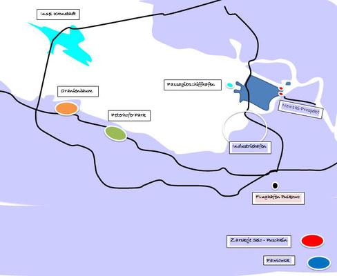 die 4 Zarenresidenzen bei Sankt Petersburg - Landkarte