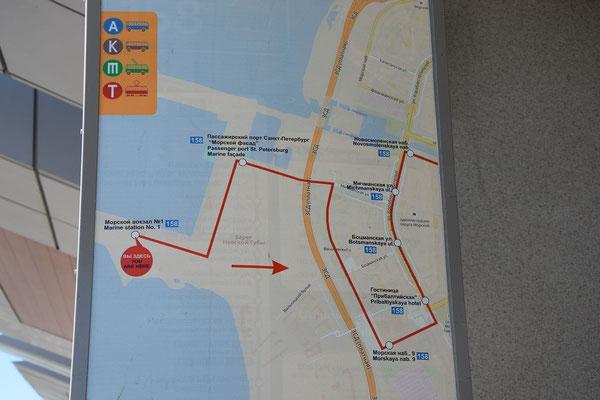 Schema Bustour vom Hafen zur Metro