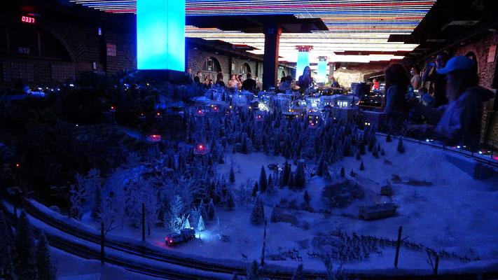 Model Winter bei Nacht