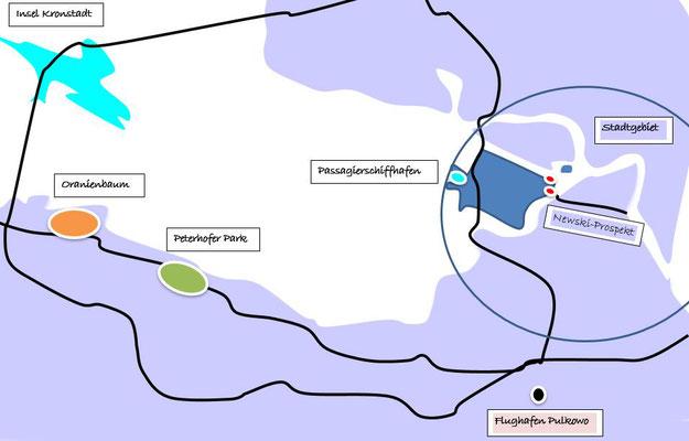 Schema Entfernung Stadtgebiet zum Peterhofer Park