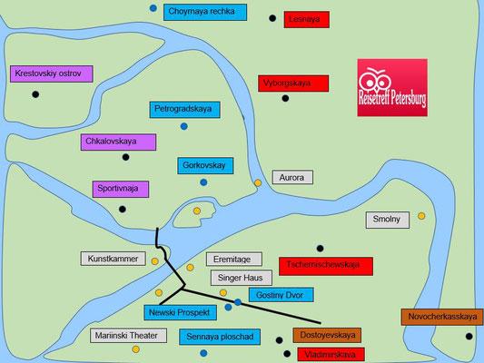 Schema Haltepunkte der Metro im Zentrum