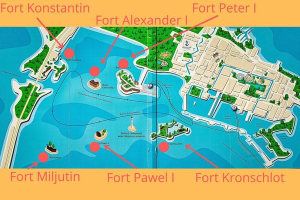 Karte der Inseln bei Kronstadt