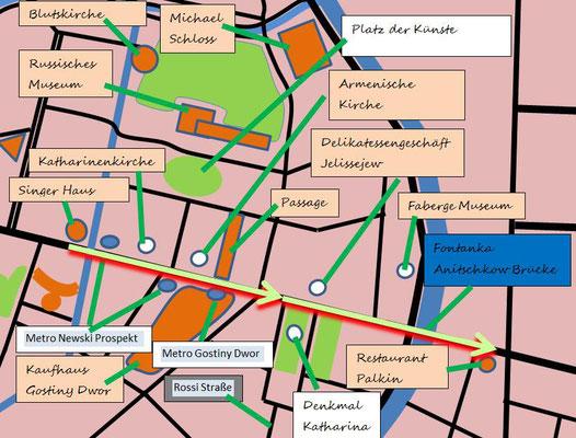 Karte Schema Zentrum mit Russischen Museum