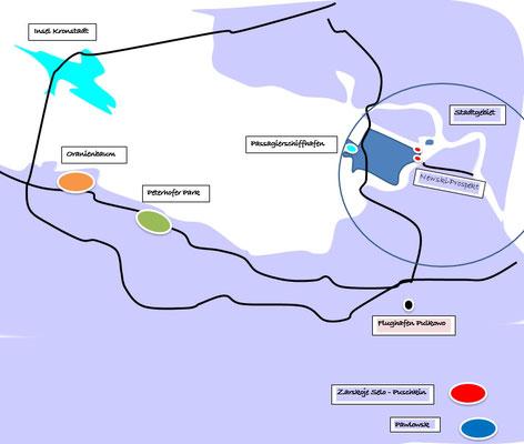 Schema Stadtgebiet, die Zarenresidenzen mit dem Peterhofer Park