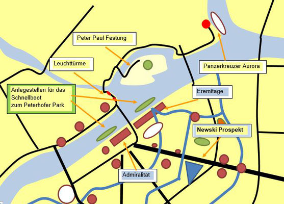 Anlegestelle für das Schnellboot zum Peterhofer Park im Zentrum