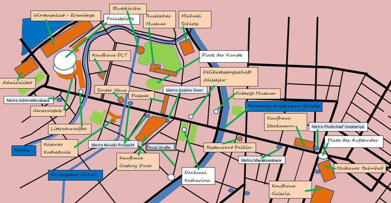 Plan Newski Prospekt mit dem Russischen Museum