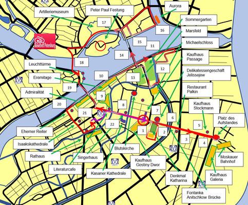 Schema Stadtrundfahrt durch Sankt Petersburg