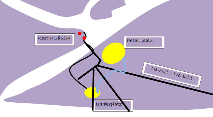 Isaaksplatz vor der Isaakskathedrale - Karte
