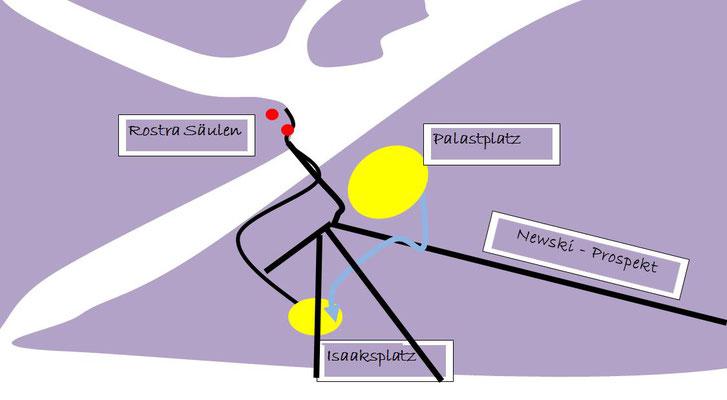 Isaaksplatz vor der Isaakskathedrale - Karte Schema