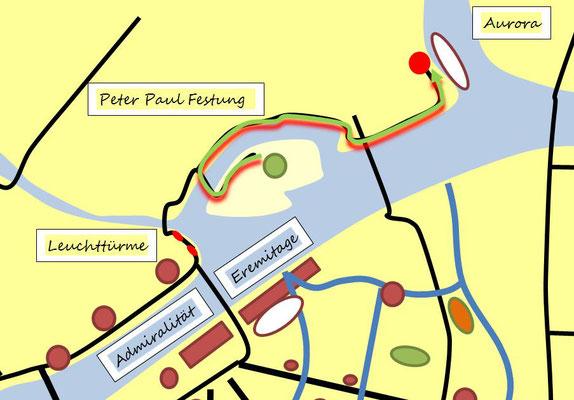 Strecke von der Peter und Paul Festung zur Aurora