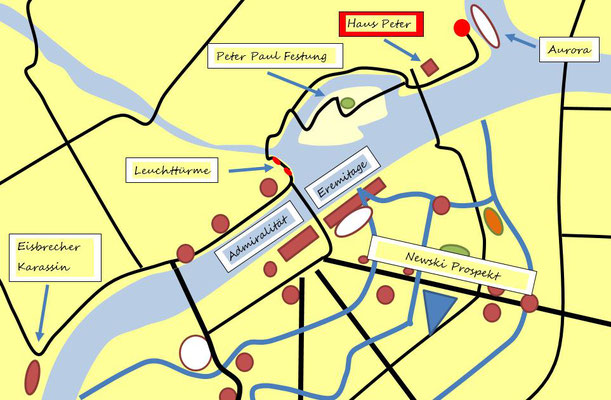 Stadtplan St. Petersburg mit Sehenswürdigkeiten