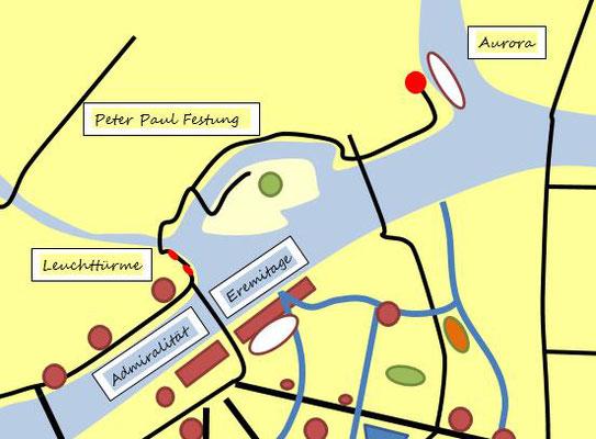 Schema Zentrum mit Peter und Paul Festung Leuchttürme Eremitage und Admiralität