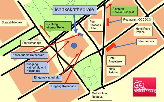 Karte Isaakskathedrale und Umgebung
