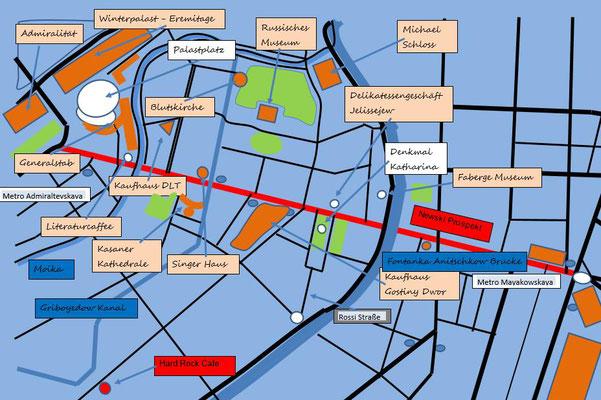 Karte mit Newski Prospekt und Hard Rock Cafe